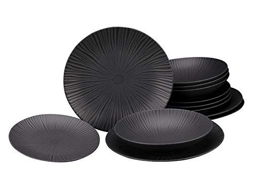 Creatable, 23211, Serie VESUVIO black (ELEMENTS Collection), Geschirrset, Tafelservice 12 teilig, Steinzeug