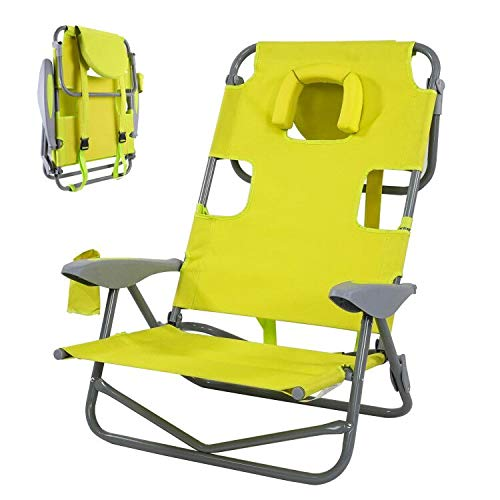 Backpack Beach Chair, Folding Camping Chair Sun Loungers with Reading Hole Pillow & Arm Slots, Recliner Chair with 4 Positions Adjustable Backrest, Cup Holder