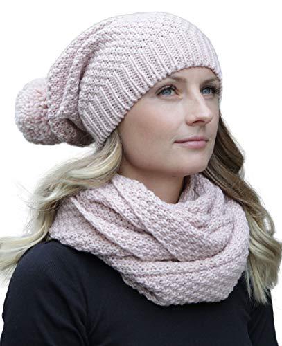 Hilltop Ensemble d'hiver pour femme Echarpe tube et bonnet tricoté assorti - Bonnet à pompon amovible et écharpe pour femme - Différentes couleurs disponibles,Rose Clair,Taille unique