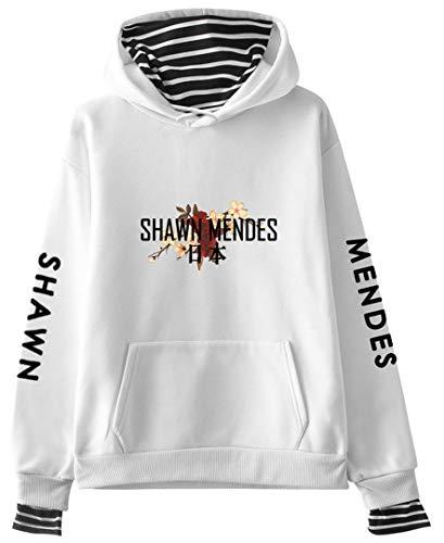 Silver Basic Unisex Langarm-Hoodie Pullover von Shawn Mendes 98 mit Einer Tasche für Musikfans Weiß-Japan-S1