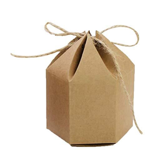 STOBOK 50 Stück Papiertüten Klein Kraftpapier Geschenkboxen Hexaeder Süßigkeitskästen Behälter mit Hanfseilen für Hochzeit Party Supplies - Größen