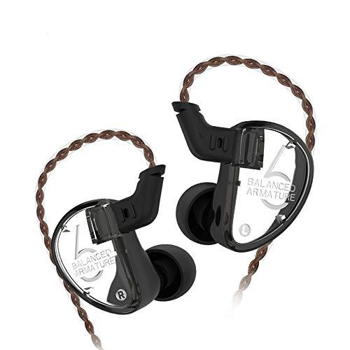 KZ AS06 Auriculares KZ Triple Driver 3BA in-Ear Monitores Auriculares HiFi Aislamiento de Ruido Auriculares KZ (Negro no Mic)