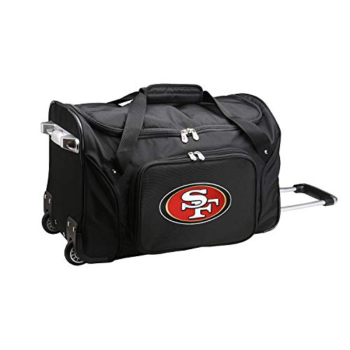 Denco NFL San Francisco 49ers Wheeled Duffel Bag, 22-inches, Black, 22 x 12 x 5.5 (NFSFL401)