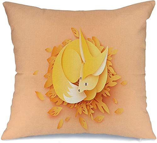 Pillow Cover Decorative Pillowcase Environment Happy Fox Relax On Leaves Yellow Element Design Animals Origami Pastel Wildlife Nature Linen Comfortable Square Cushion Case for Car Couch 16x16 Inch