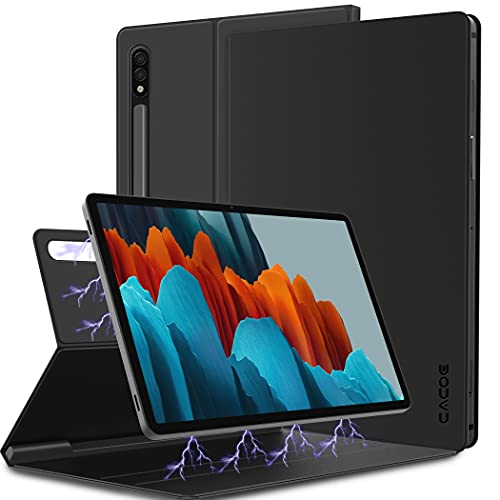 CACOE Hülle Kompatibel mit Samsung Galaxy Tab S7 11 Zoll, Superdünne Schutzhülle mit Intelligenter Magnetabdeckung & Stifthalter & Aufwachen für Samsung Tab S7 2020 Tablet, Schwarz