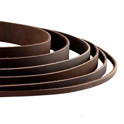 Auroris - Lederband flach Dunkelbraun Breite wählbar 2/3/4/5/8/10/15/20/25/30 mm - Variante: Breite 10mm / Länge 1m
