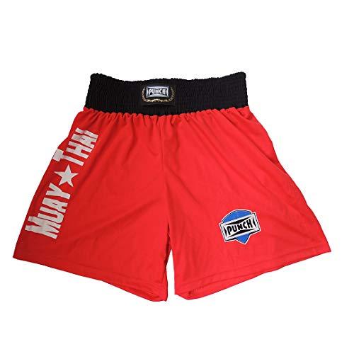 Punch Silk Shorts Muay Thai, Unissex, Vermelho/Branco, M