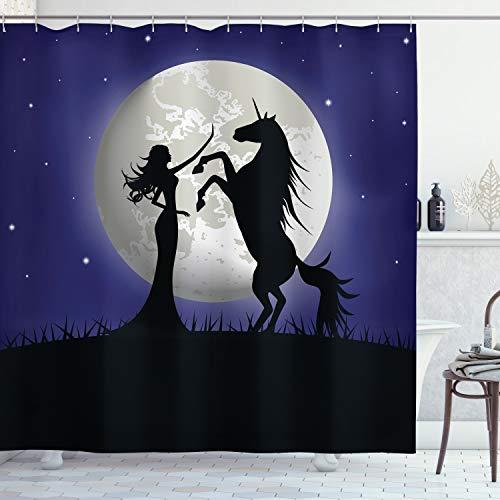 ABAKUHAUS Pferd Duschvorhang, Zügelloses Pferd & Mädchen, mit 12 Ringe Set Wasserdicht Stielvoll Modern Farbfest & Schimmel Resistent, 175x180 cm, Marineblau &