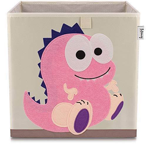 Lifeney Kinder Aufbewahrungsbox I praktische Aufbewahrungsbox für jedes Kinderzimmer I Kinder Spielkiste I Niedliche Spielzeugbox I Korb zur Aufbewahrung von Kinder Spielsachen (Dino 3 hell)