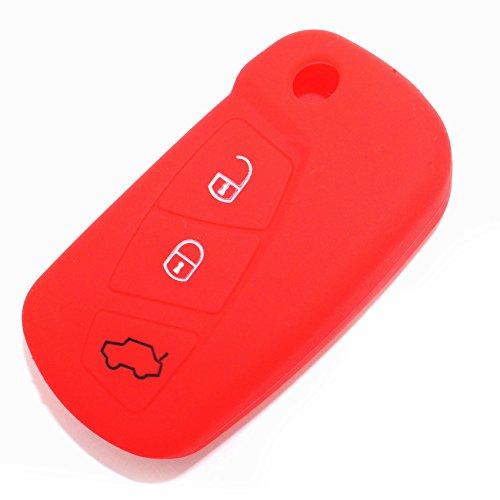 CoverYourKey Finest-Folia - FE - Coque en silicone pour clé de voiture à 3 boutons rouge