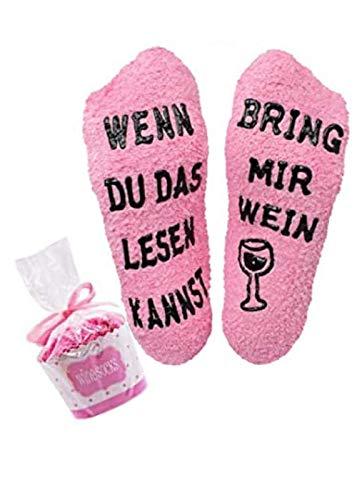 Chaussettes moelleuses de luxe avec inscription en allemand « bring mir vin/gin/if you can read this bring me some wine » - Cadeau original pour homme et femme - Taille unique - - taille unique