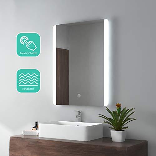 EMKE LED Badspiegel 60x80cm Badezimmerspiegel mit Beleuchtung kaltweiß Lichtspiegel Wandspiegel mit Touchschalter + beschlagfrei IP44 energiesparend