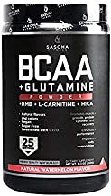 Sascha Fitness BCAA 4:1:1 + Glutamine,HMB,L-Carnitine,HICA   Powerful and Instant Powder Blend with Branched Chain Amino Acids (BCAAs) for Pre,Intra and Post-Workout   Natural Watermelon Flavor,350g