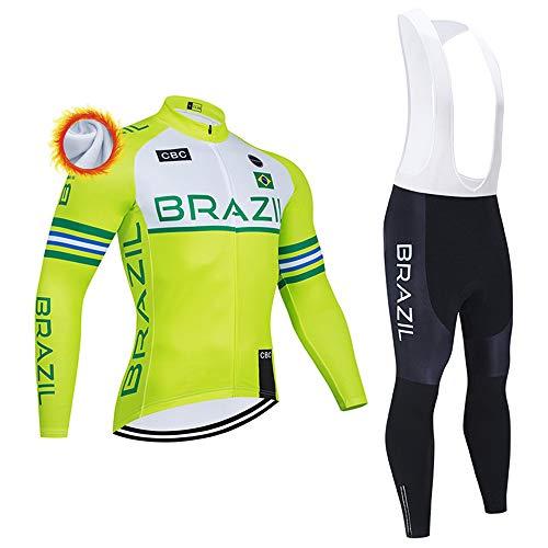 Completo Ciclismo Invernale Termica Abbigliamento Ciclismo Uomo con Pantaloni Imbottiti in Gel Set Maglia MTB per Completi Ciclismo Squadre (Opzionale)