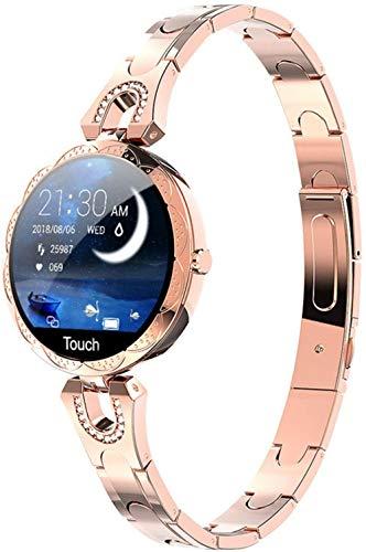 Reloj inteligente para mujer Fitness Tracker IP67 impermeable pulsera inteligente de moda ritmo cardíaco presión arterial monitoreo del sueño ciclo fisiológico recordatorio inteligente plata oro