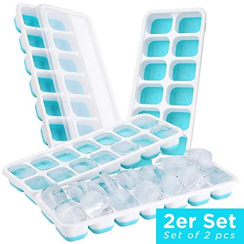 HOT SUMMER Bandeja para Cubitos de Hielo con Tapa - Apilable para ahorrar Espacio - Molde sin BPA (2x Azul)