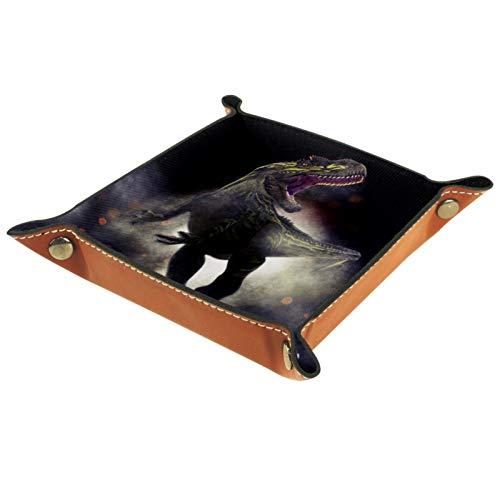 AITAI Valet Tablett aus veganem Leder für den Nachttisch, Organizer für Schreibtisch, Aufbewahrungsteller von Catchall Allosaurus
