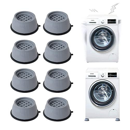 Gsrhzd waschmaschine füße, Gummifüße für Waschmaschine, 8 Waschmaschinenfüße, rutschfest, feuchtigkeitsbeständig und stoßdämpfend, Kühlschrank Waschmaschinenstabilisator (grau)
