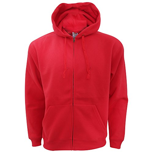 Fruit of the Loom - Sweatshirt à Capuche et Fermeture zippée - Homme (XL) (Rouge)