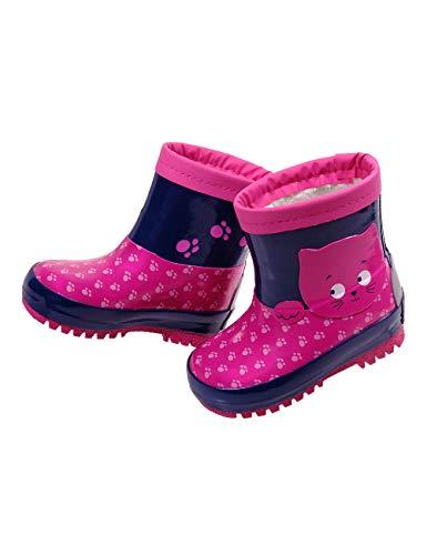 maximo Kindergummistiefel, Babygummistiefel für Mädchen mit Winterfutter, pink/Tinte, Motiv Katze, Reflex 3M (28 EU)