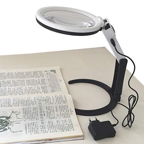 Tischlupe Stand 1,8-fache und 5-fache Vergrößerung 130 mm Linsen-größe mit 12 LEDs