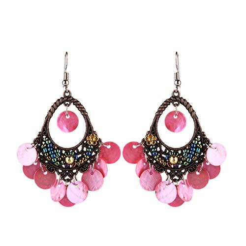 Ruby569y Pendientes colgantes para mujeres y niñas, bohemios con diseño de disco, colgantes huecos, colgantes de gancho para araña, joyas, regalo, color rosa