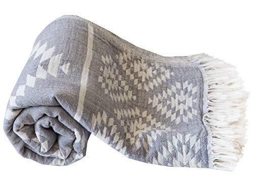 "Turkish Towels Beach Towels Oversized (35""x67"") Quick Dry and Sand Free Beach Towel Beach Blanket 100% Cotton Turkish Towel - Vintage Dark Grey"