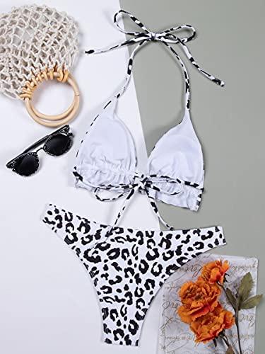 NBgy Bikinis para Mujer Traje de baño de Bikini Halter Halter Allover Flover (Color : Black and White, Size : M)