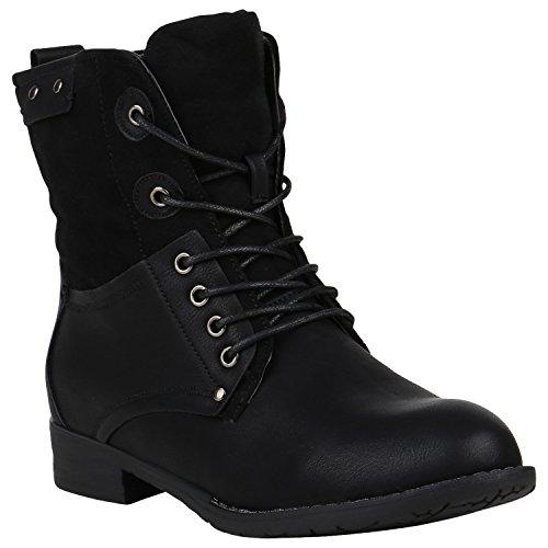 stiefelparadies Damen Stiefel Leicht Gefütterte Stiefeletten Schnürstiefeletten Schuhe 150340 Schwarz Nieten 36 Flandell