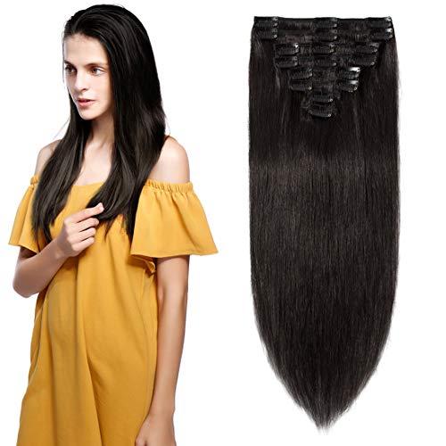 Extension a Clip Cheveux Naturel - 100% Cheveux Humain 8 Bandes (#1B Noir Naturel, 60cm-120g)