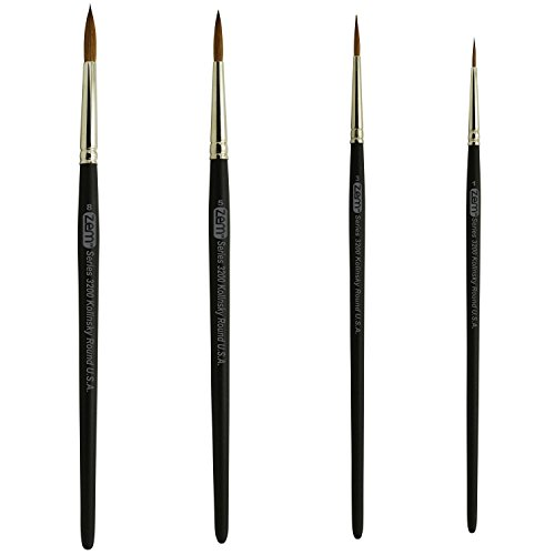 ZEM Brush Kolinsky Pure Sable Watercolor Artist Brush Set Rounds Sizes 1,3,5,8