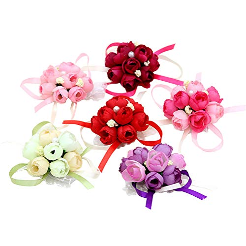 6 pulseras de color al azar con perlas de imitación, para decoración de bodas, novias, damas de honor, muñecas, flores, ramilletes para decoración de bodas