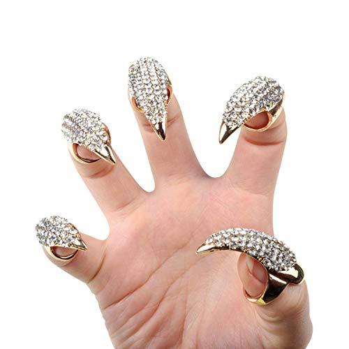 Petalum 10st Gothic Punk Finger Ring Bling Bling Krallen Nägel Gefälschte Falsche Nägel Set für Halloween Party Cosplay