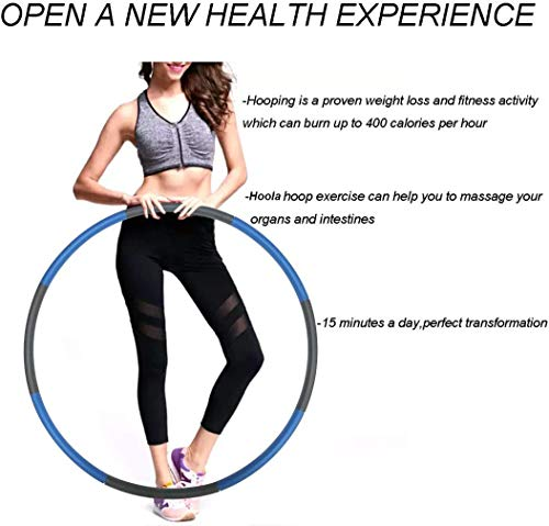 Hula Hoop for Adults Skipping Rope Weighted Hoola Hoop for Exercise Jump Rope for Weight Loss Detachable Design-Professional Soft Fitness Hoola Hoop Collapsible Adjustable 2.42lbs/1.1kg/Blue-Gray