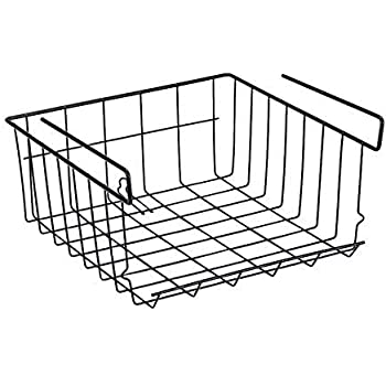 Happy2Buy Under Shelf Basket, Cabinet Storage Shelf Wire Basket, Slides Under Shelves for Storage, Stackable Hanging Wire Storage Basket for Kitchen, Office, Pantry etc (Pack of 1,Small,Black)
