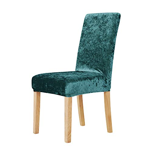Deconovo Luxurious Velvet Stretch Chair Covers Plush Wedding Chair Slipcovers for Outdoor Party Set of 4 Turquoise