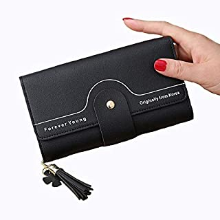 $28 » Jennyfly Women's RFID Blocking Zip Wallet, Fashion Women Girls Long Zipper Buckle Phone Wallet PU Leather Purse with Multi...