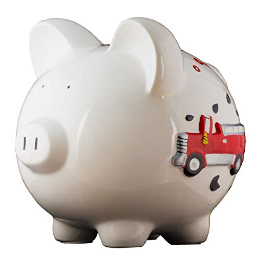 Firetruck Boys Piggy Bank - Large - (Personalized & Custom with Name and Year) (First Financial Toy for Teaching Boys & Girls About Saving Money) (Perfect Unique Gift Idea for Babys 1st Birthday)