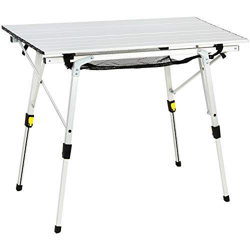 Portal Outdoor Folding Portable Picnic Camping Table with Adjustable Height Aluminum Roll Up Table Top Mesh Layer