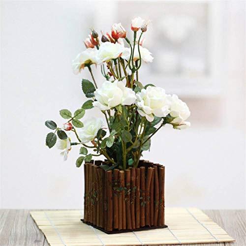 HYLZW Künstliche Blume Topfpflanze Txmon Holzzaun Simulation Rose Gefälschte Pflanze Topfgarten Hause Wohnzimmer Garten Dekoration Topfblume Shooting Requisiten