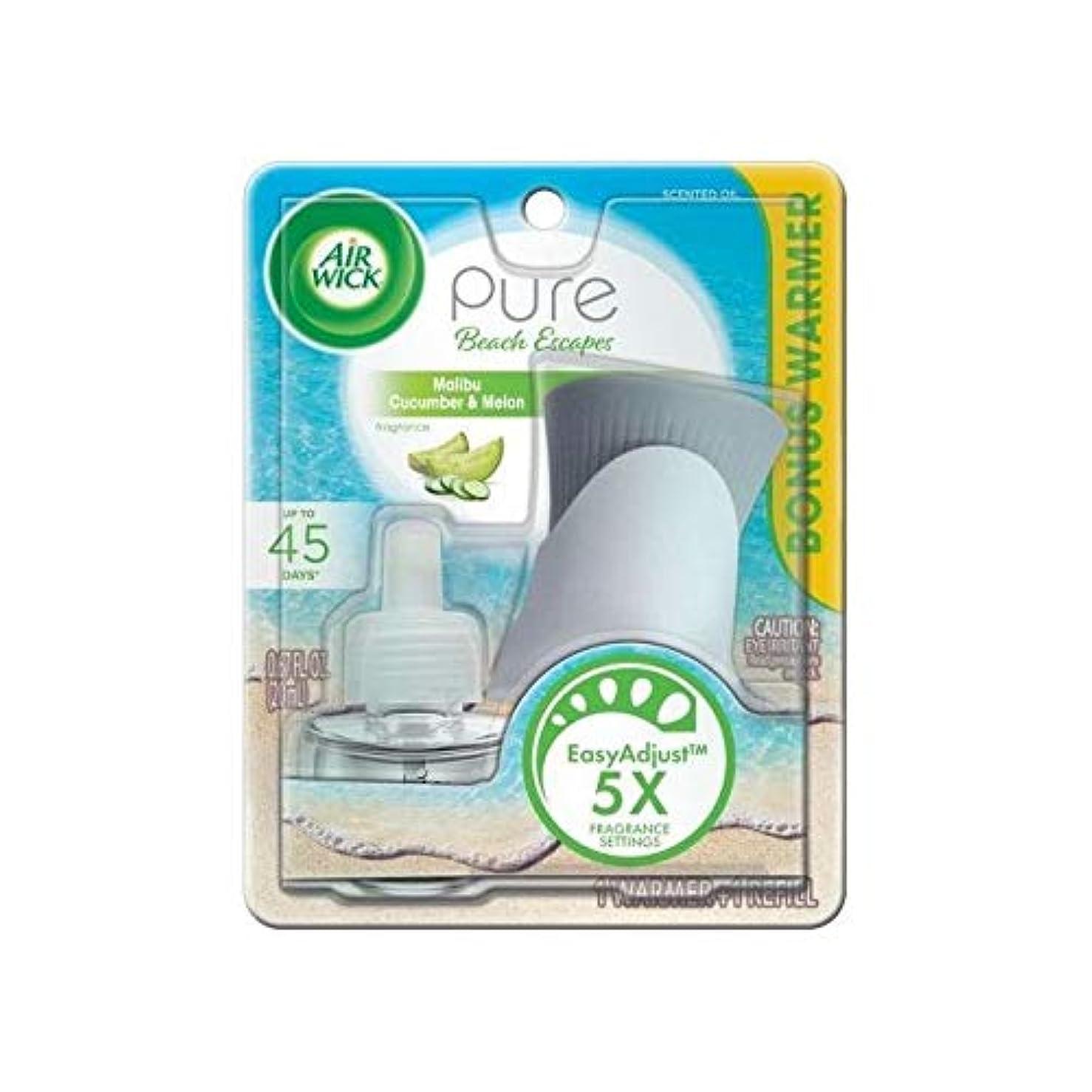 地理懸念移動する【Air Wick/エアーウィック】 プラグインスターターセット オイルウォーマー本体+詰替えリフィル1個 マリブ キューカンバー&メロン Air Wick Pure Beach Escapes Malibu Cucumber & Melon Scented Oil Starter Kit [並行輸入品]