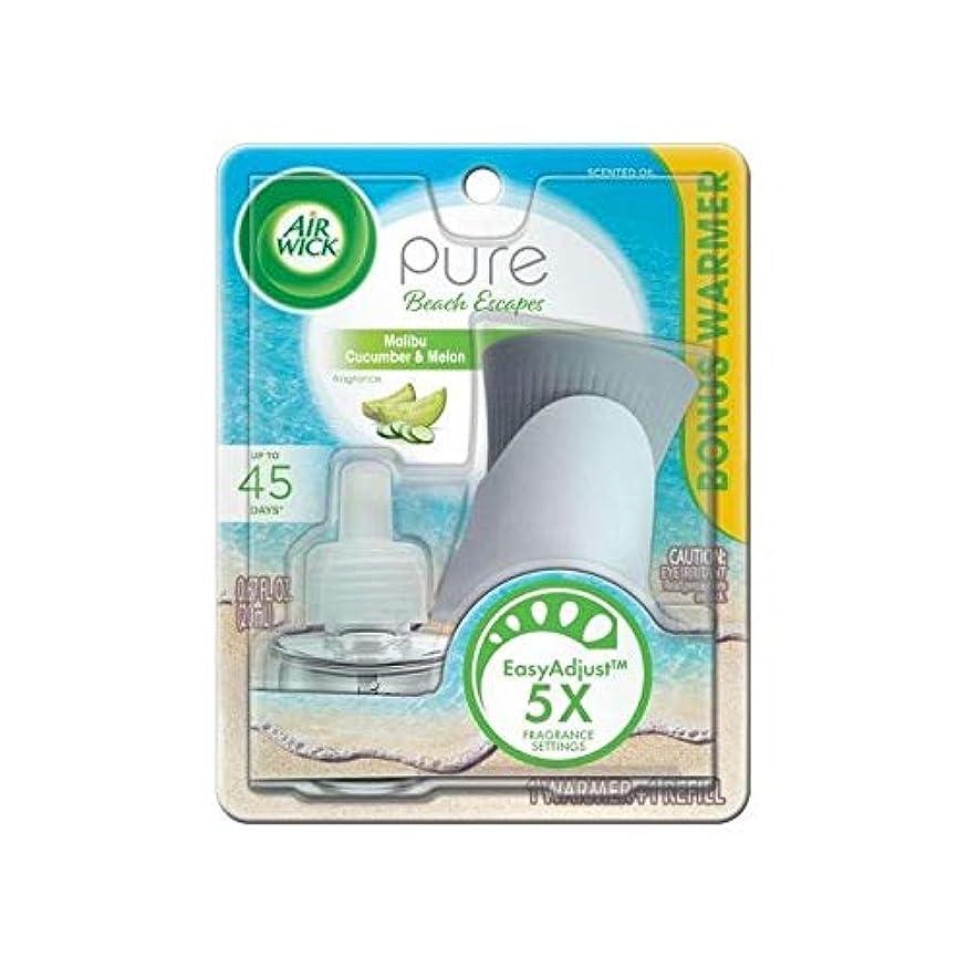 溶接冷蔵する運動【Air Wick/エアーウィック】 プラグインスターターセット オイルウォーマー本体+詰替えリフィル1個 マリブ キューカンバー&メロン Air Wick Pure Beach Escapes Malibu Cucumber & Melon Scented Oil Starter Kit [並行輸入品]