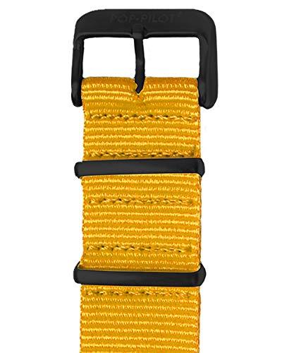 Pop Pilot Damen Stoff Uhrenarmband Neon-Yellow M 22mm