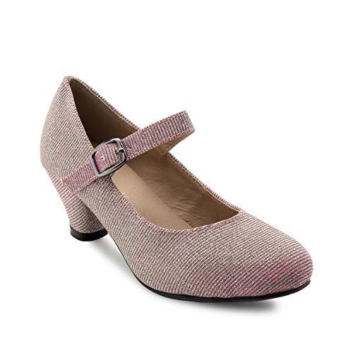 Andres Machado - Mary Jane Damenschuhe für Mädchen mit 5,0 cm Absatz – AM538 – Hohe Schuhe Damen/Pumps Blockabsatz – aus rosanem Stoff - EU 31