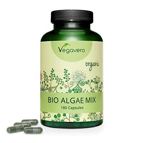MIX DI ALGHE Vegavero ® | 1954 mg | con Spirulina, Clorella e Iodio da Alga Bruna | 180 capsule | Vegan