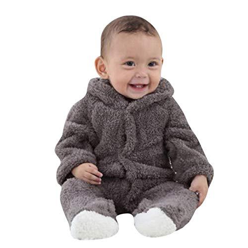 Covermason Grenouillères - Combinaisons et Barboteuses - Bébé Fille Garçon Combinaison De Neige Manteau à Capuche Hiver Combinaisons Pyjama Ensemble de Pyjama 3-12 Mois (Gris, 6Mois)