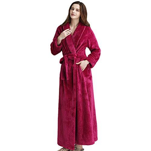 LUCHA Männer Frauen Gemütlicher Flauschiger Langer Bademantel Flanellrock Fleece Warm Robe
