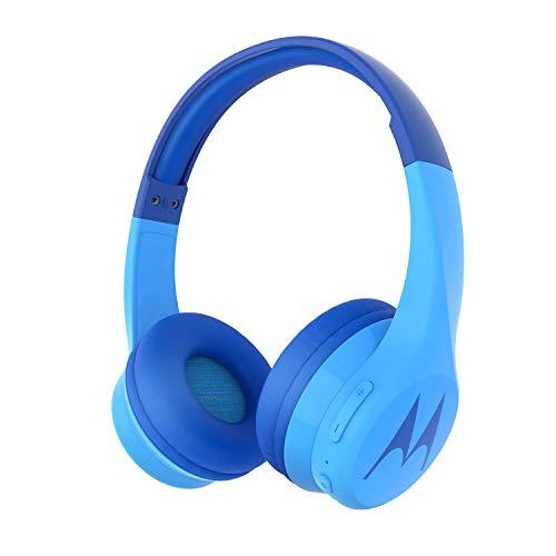 Motorola Squads 300 - Auriculares Bluetooth para Niños - 24hrs - Volumen limitado 85dB, Flexible y duradero, Protección auditiva y función para compartir música, Cojín antialérgico (sin BPA) - Azul