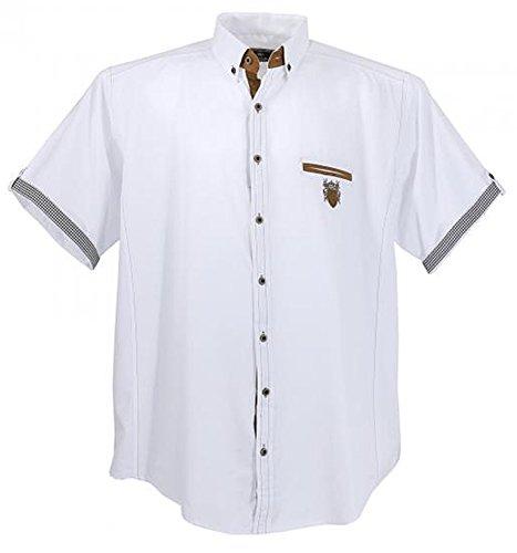 Übergrössen !!! Schickes Kurzam-Hemd LAVECCHIA 1128 in Weiß 5XL