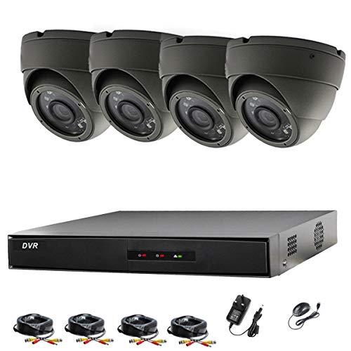 Hikvision 4ch DVR CCTV Kit Sistema de seguridad y 4x Sony 2,4MP CMOS TVI 1080P Full HD gris cámaras domo 20m visión nocturna por infrarrojos P2P fácil visión remota